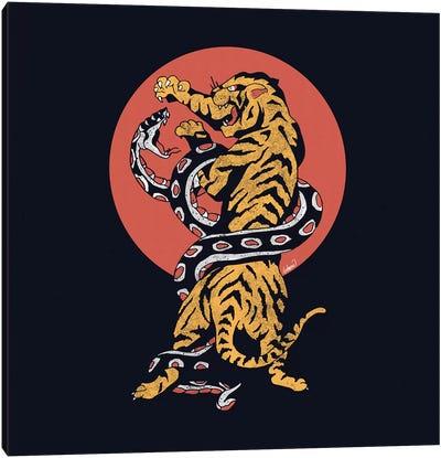 Classic Tattoo Snake Tiger Canvas Art Print