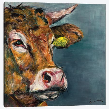 Cow V 3-Piece Canvas #LSR16} by Liesbeth Serlie Canvas Print