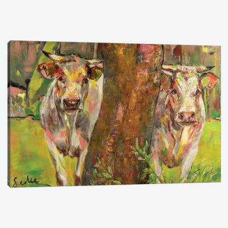 Two cows behind the tree 3-Piece Canvas #LSR23} by Liesbeth Serlie Art Print