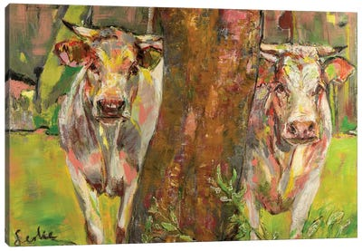 Two cows behind the tree Canvas Art Print