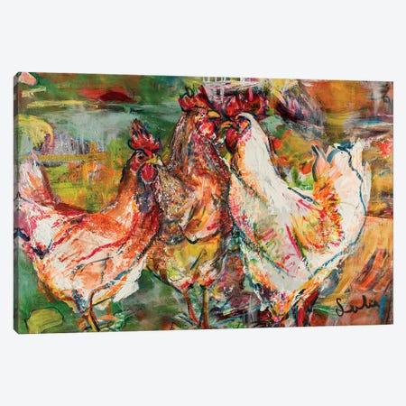 Roosters Canvas Print #LSR9} by Liesbeth Serlie Canvas Print