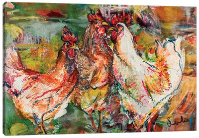 Roosters Canvas Art Print