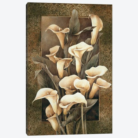 Golden Calla Lilies Canvas Print #LTH15} by Linda Thompson Canvas Wall Art