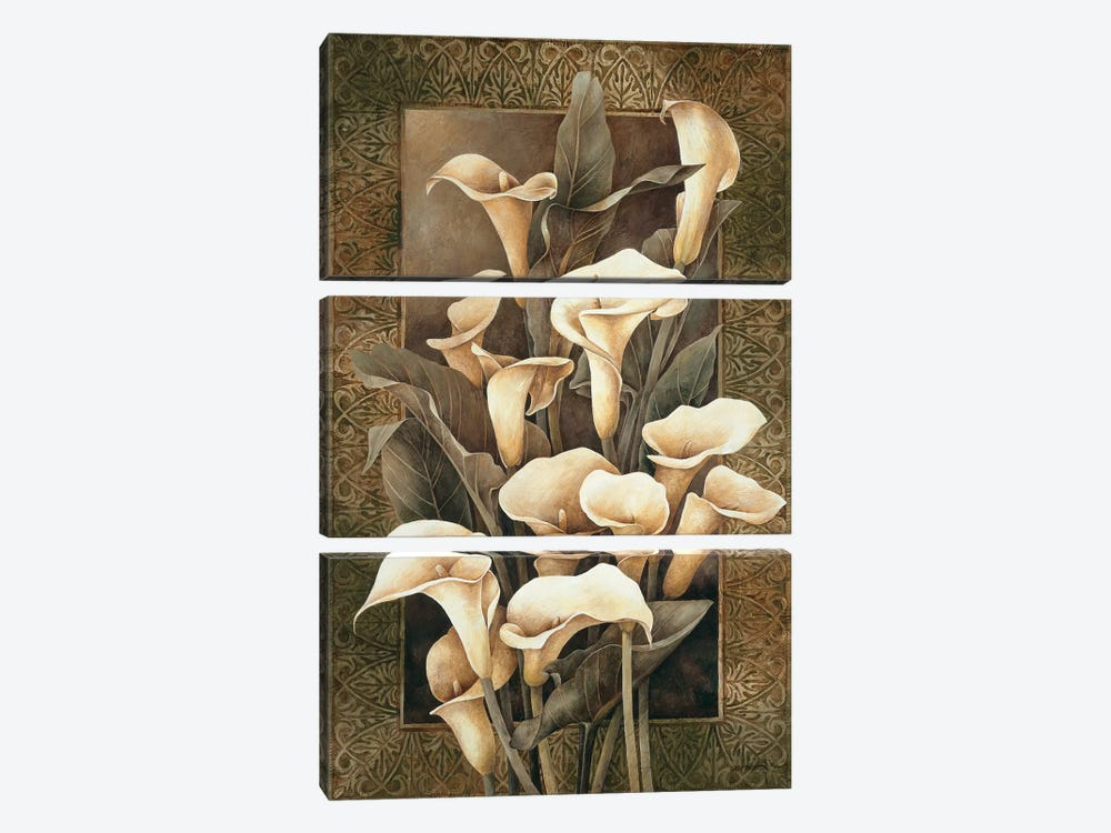 Golden Calla Lilies by Linda Thompson 3-piece Canvas Print