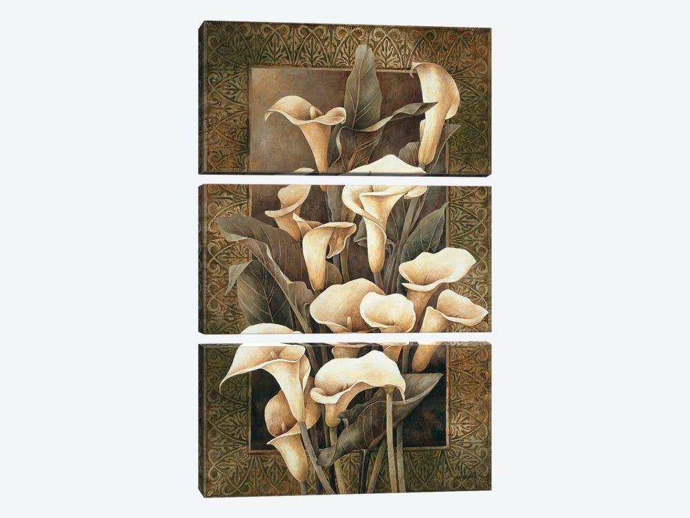 Golden Calla Lilies by Linda Thompson 3-piece Canvas Print