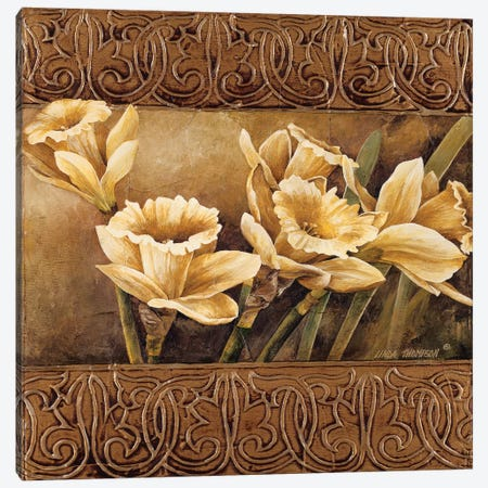 Golden Daffodils II Canvas Print #LTH17} by Linda Thompson Canvas Art