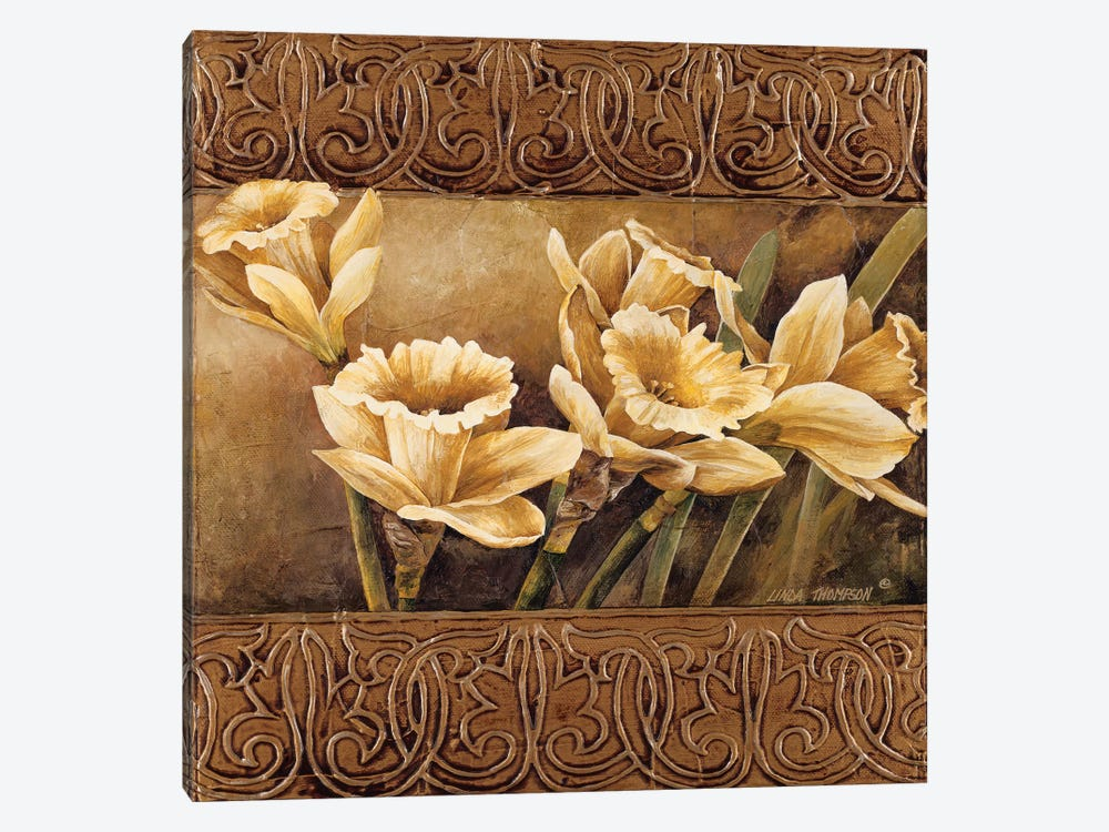 Golden Daffodils II by Linda Thompson 1-piece Canvas Art Print