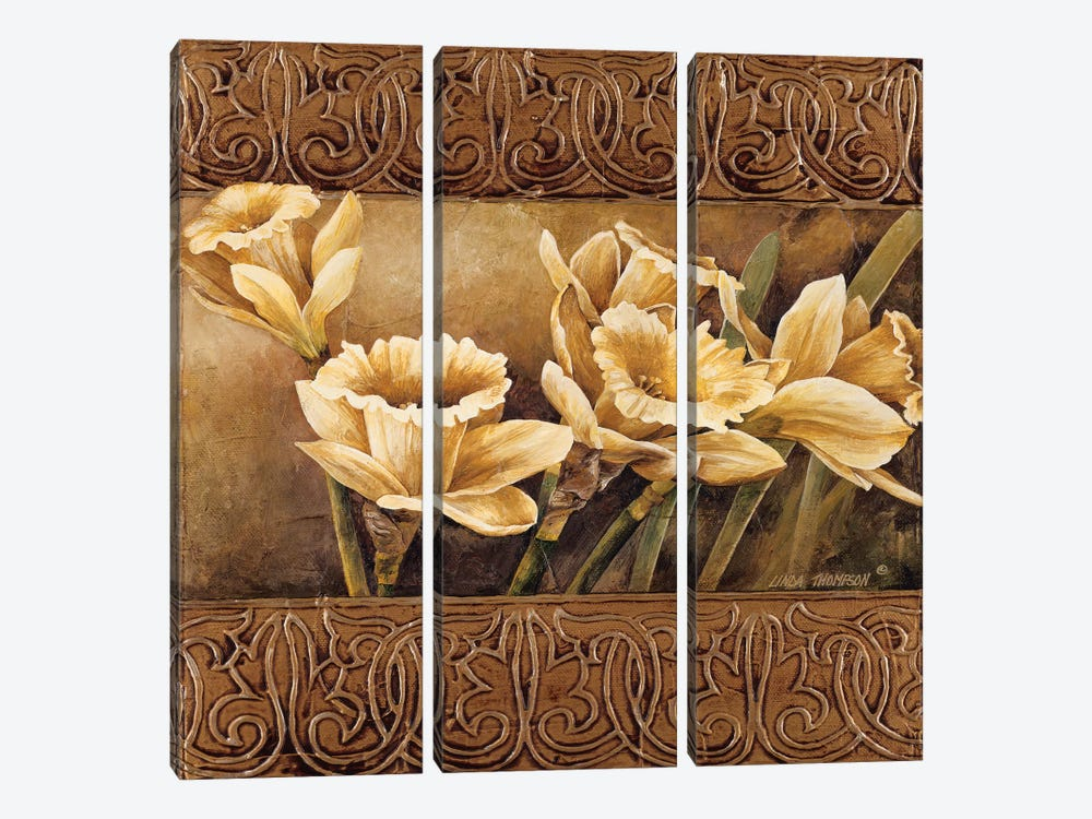 Golden Daffodils II by Linda Thompson 3-piece Canvas Print