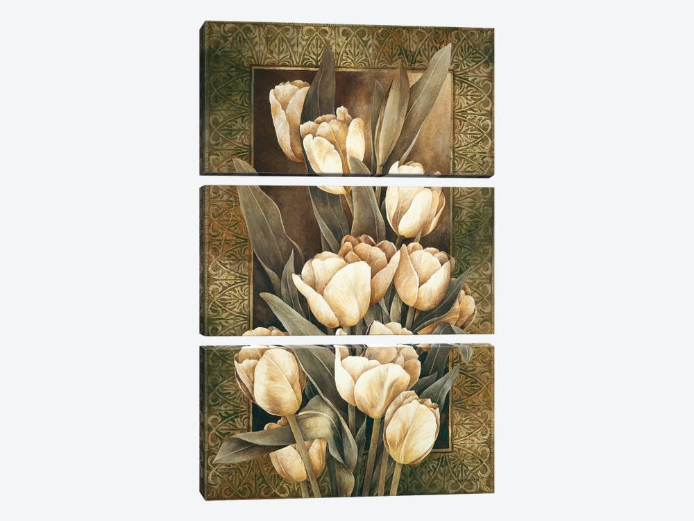 Golden Tulips by Linda Thompson 3-piece Canvas Artwork