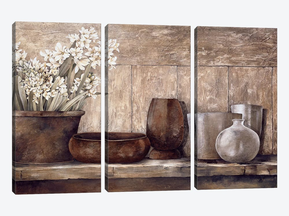 Hyacinth On A Sideboard by Linda Thompson 3-piece Art Print