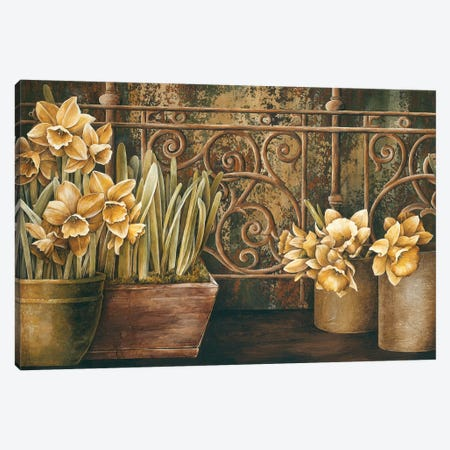 Ironwork With Daffodils Canvas Print #LTH20} by Linda Thompson Canvas Art