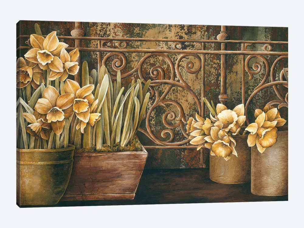 Ironwork With Daffodils by Linda Thompson 1-piece Art Print