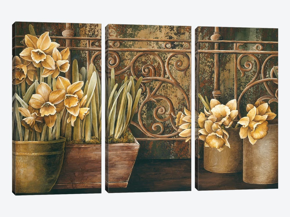 Ironwork With Daffodils by Linda Thompson 3-piece Canvas Art Print