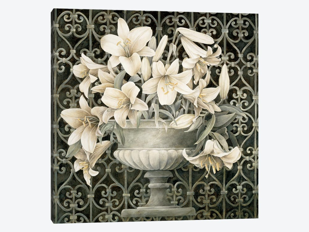 Lilies In Urn by Linda Thompson 1-piece Canvas Art Print