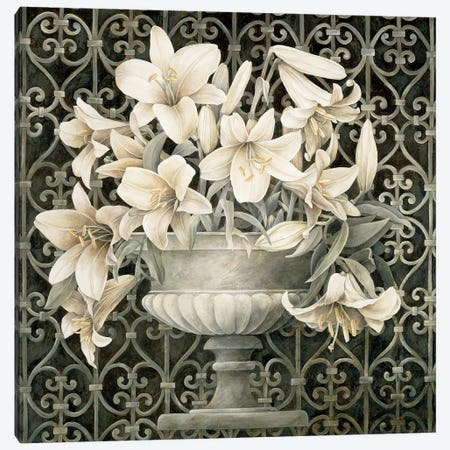 Lilies In Urn 3-Piece Canvas #LTH26} by Linda Thompson Canvas Print