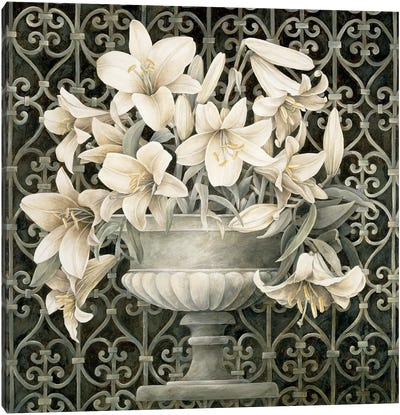 Lilies In Urn Canvas Art Print
