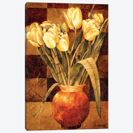 Checkered Tulips I Canvas Print #LTH2} by Linda Thompson Art Print