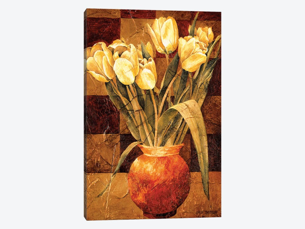 Checkered Tulips I by Linda Thompson 1-piece Canvas Wall Art
