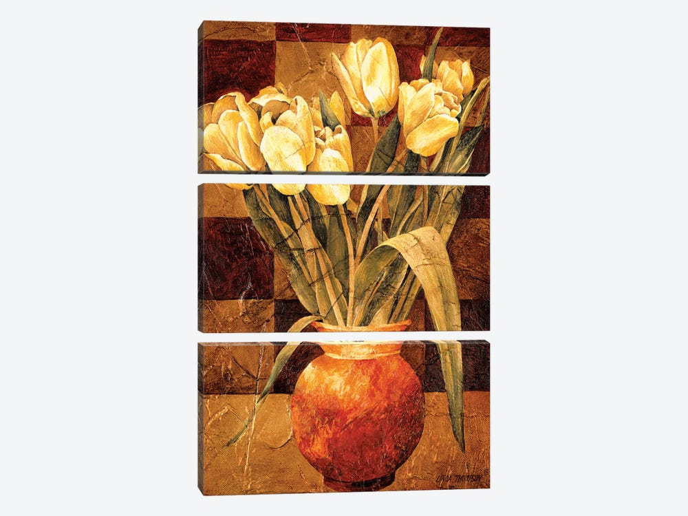 Checkered Tulips I by Linda Thompson 3-piece Canvas Wall Art
