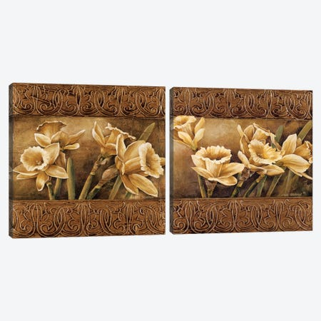 Golden Daffodils Diptych Canvas Print Set #LTH2HSET002} by Linda Thompson Canvas Artwork