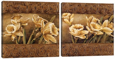 Golden Daffodils Diptych Canvas Art Print