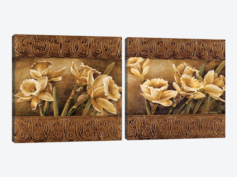 Golden Daffodils Diptych by Linda Thompson 2-piece Canvas Print