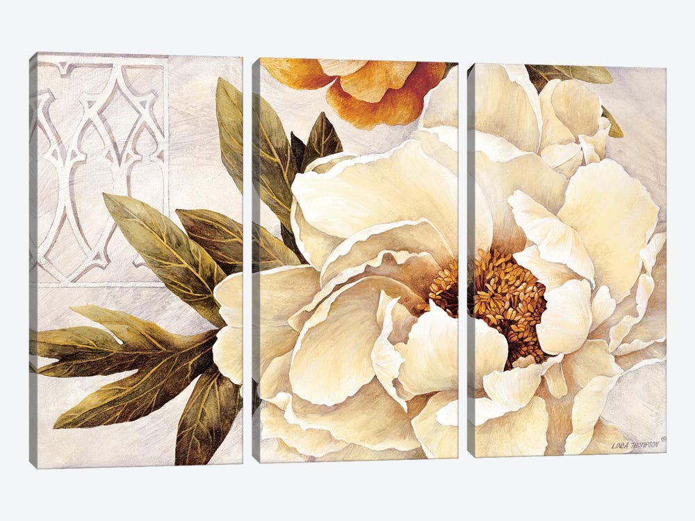 Summer Fresh Peonies by Linda Thompson 3-piece Canvas Artwork