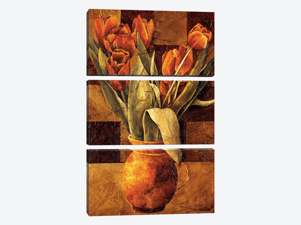 Checkered Tulips II by Linda Thompson 3-piece Canvas Art Print