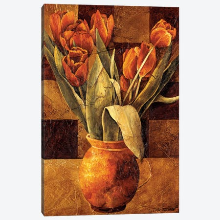 Checkered Tulips II Canvas Print #LTH3} by Linda Thompson Canvas Art Print