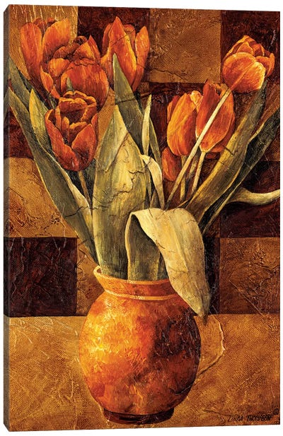 Checkered Tulips II Canvas Art Print