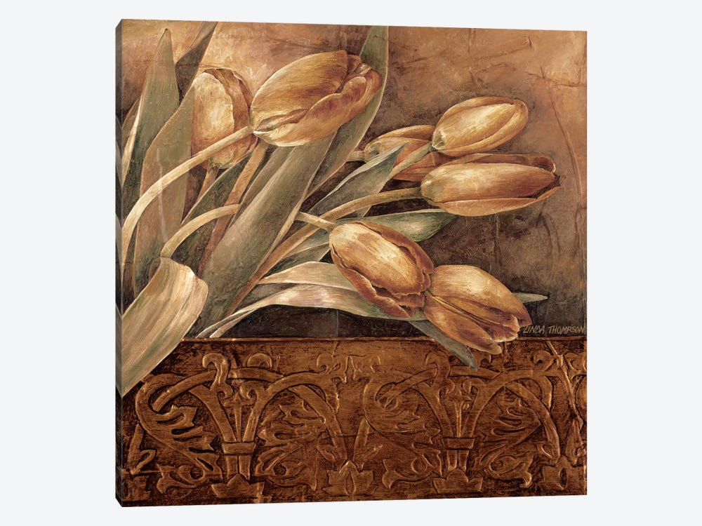 Copper Tulips II by Linda Thompson 1-piece Canvas Print