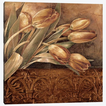 Copper Tulips II Canvas Print #LTH7} by Linda Thompson Canvas Art