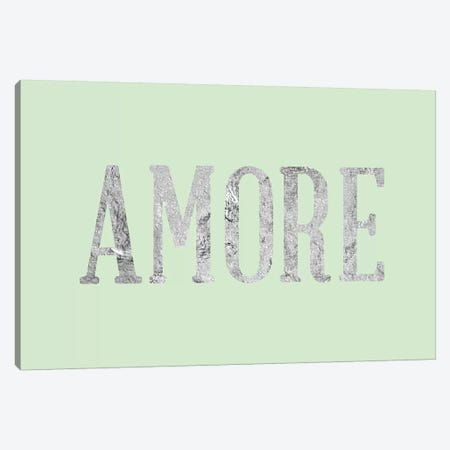 """Amore"" Gray on Green Canvas Print #LTL10} by 5by5collective Canvas Print"