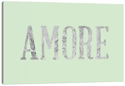 """Amore"" Gray on Green Canvas Art Print"