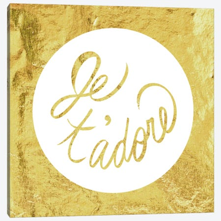 """Je t'adore"" Yellow Canvas Print #LTL11} by 5by5collective Canvas Print"