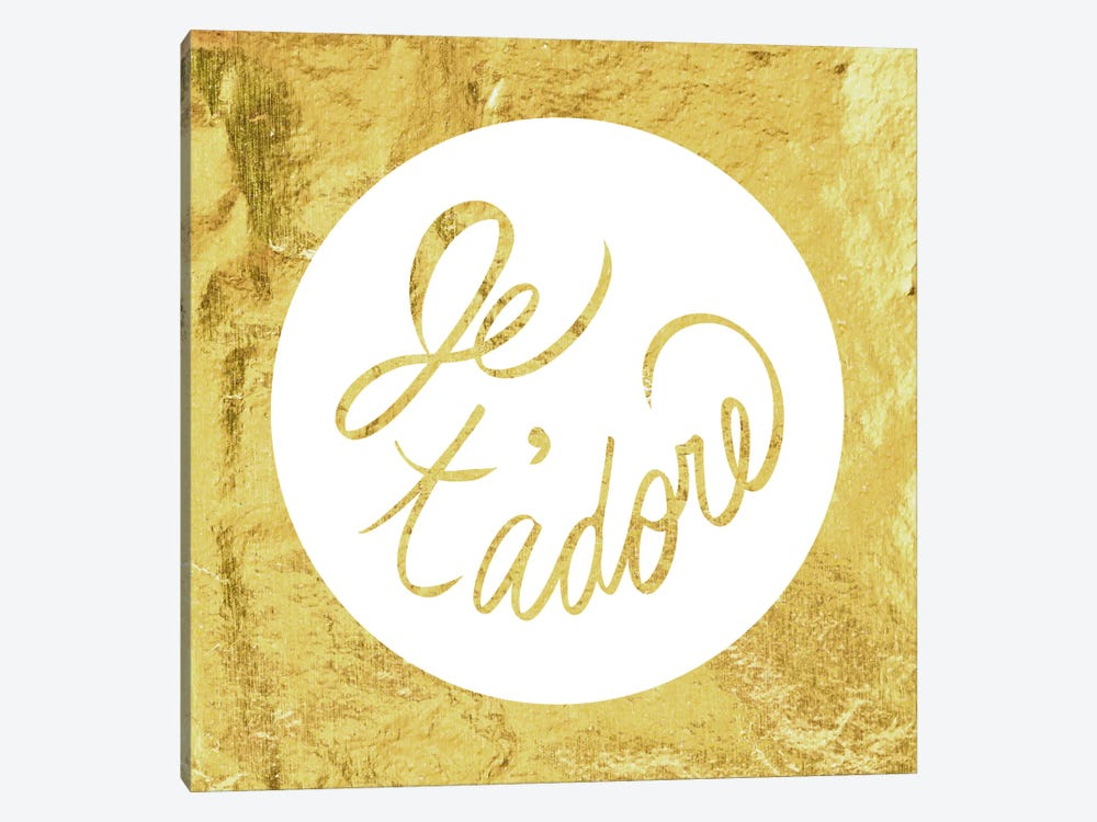 """Je t'adore"" Yellow by 5by5collective 1-piece Canvas Artwork"