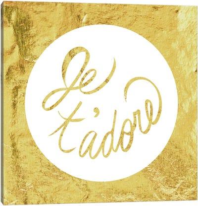 """Je t'adore"" Yellow Canvas Art Print"