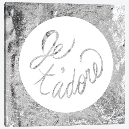 """Je t'adore"" Gray Canvas Print #LTL12} by 5by5collective Canvas Print"