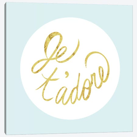 """Je t'adore"" Yellow on Light Blue Canvas Print #LTL14} by 5by5collective Canvas Wall Art"