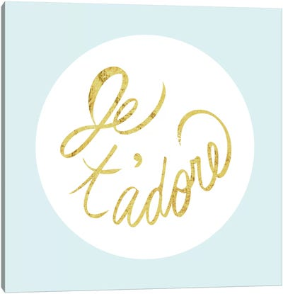 """Je t'adore"" Yellow on Light Blue Canvas Art Print"