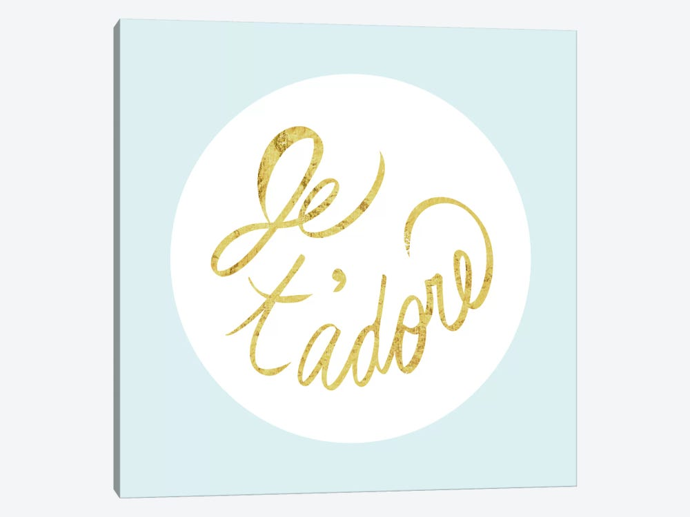 """Je t'adore"" Yellow on Light Blue by 5by5collective 1-piece Art Print"