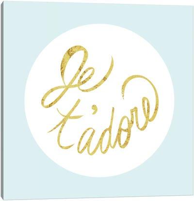 """Je t'adore"" Yellow on Light Blue Canvas Art Print"