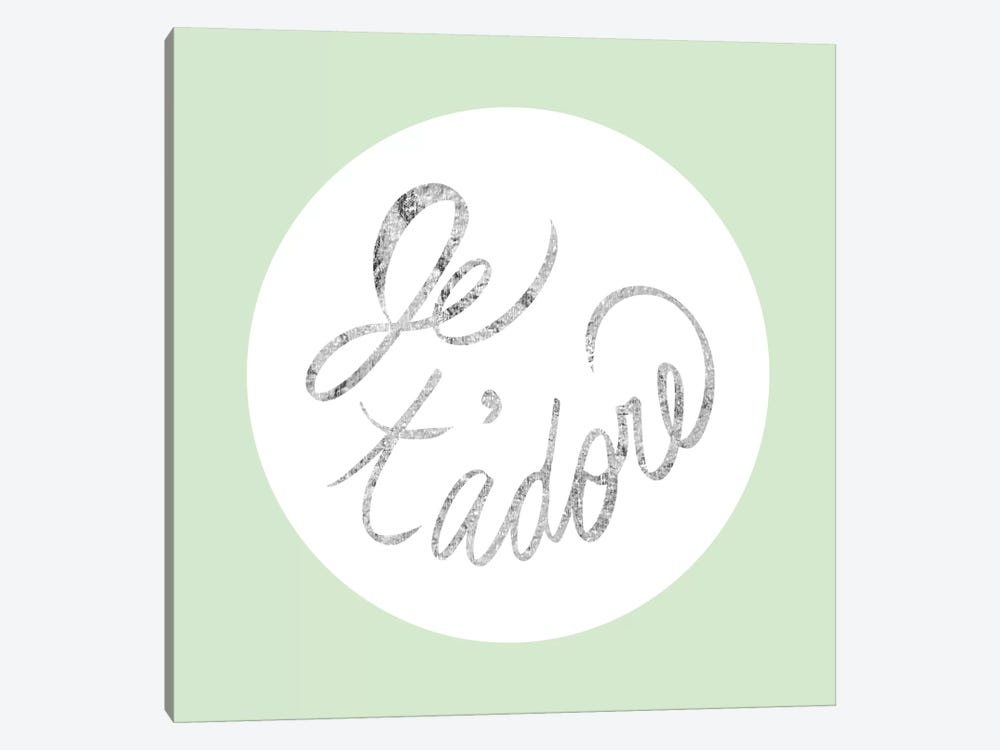 """Je t'adore"" Gray on Green 1-piece Canvas Wall Art"