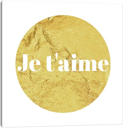 """Je t'aime"" White on Yellow Canvas Art Print"