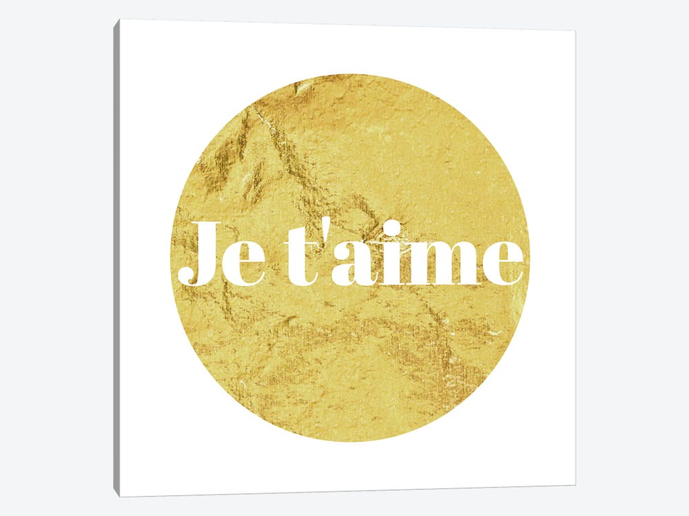 """Je t'aime"" White on Yellow by 5by5collective 1-piece Canvas Art Print"