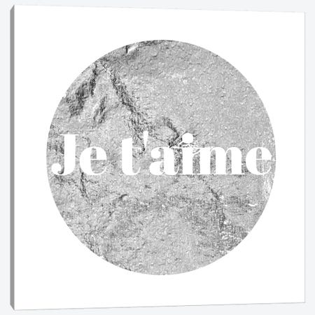 """Je t'aime"" White on Gray Canvas Print #LTL17} by 5by5collective Canvas Wall Art"