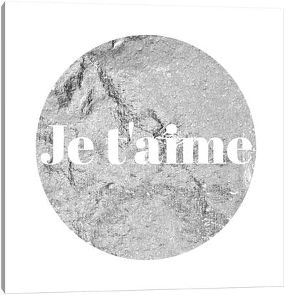 """Je t'aime"" White on Gray Canvas Art Print"