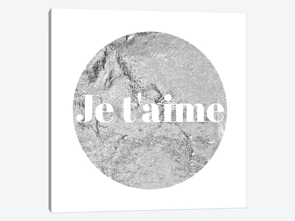 """Je t'aime"" White on Gray by 5by5collective 1-piece Canvas Wall Art"