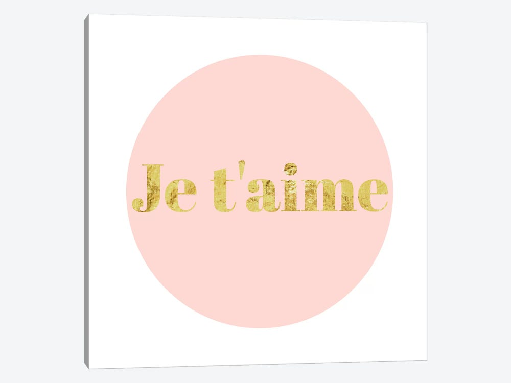 """Je t'aime"" Yellow on Pink by 5by5collective 1-piece Canvas Art Print"
