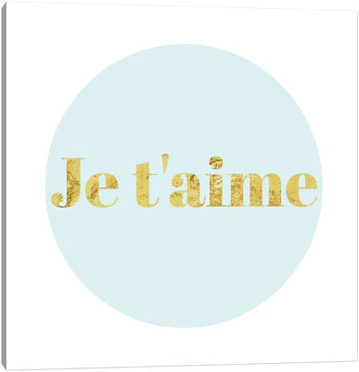 """Je t'aime"" Yellow on Light Blue Canvas Art Print"